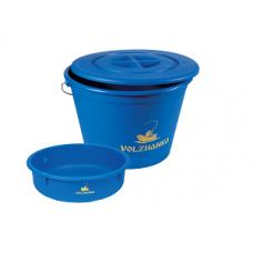 Ведро Волжанка пластиковое 25 литров с крышкой и тазиком